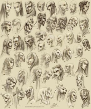 Face Sketches 001 by Kipestshin