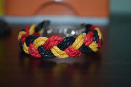 Orange Red Black Braided Bracelet by ghelalala