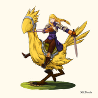 Agrias Oaks riding a chocobo 01 by NilBeoulve