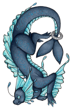 Blue Water Dragon by DeathTheDragon