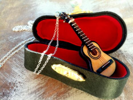 Acoustic Guitar Necklace by SteamPixy