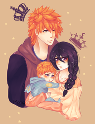 The Black King, White Queen and Gray Prince by MomoChiee