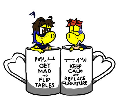 table flip/keep calm meme: Kura and Mason by CrazyStarlightRene01