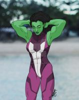 She-Hulk Stretch by GabAroa