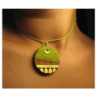 Green Ginkgo Pendant by Amaltheea