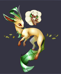 Whimsicott and Leafeon by Minerea