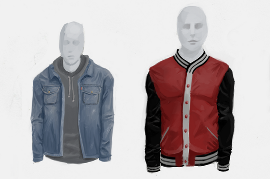 Clothes Study 3 :Denim Jacket, Hoodie, College top by pixg