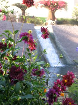 flowers and waterfall by L-exandra