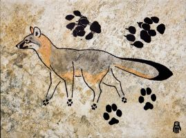 Prehistoric Style Gray Fox painting by RobertMeyer
