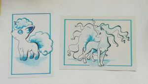 Vulpix and Ninetales (side by side) by TruiArts