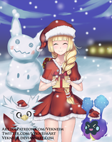 Lillie Pokemon Sun and Moon Christmas by Vekneim
