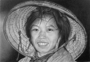 Pencil portrait of a Hmong girl by LateStarter63