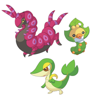 Scolipede, Snivy and Sewaddle