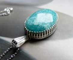 Russian amazonite serrated Sterling silver pendant by Kreagora