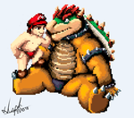 Mario and Bowser rest from battles by Pengon1