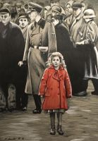Schindlers List girl in the red coat drawing by billyboyuk