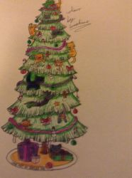 Cats in a Christmas tree by sapphirewolves123