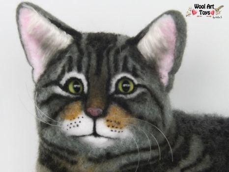 Tabby cat Needle felted sculpture by WoolArtToys