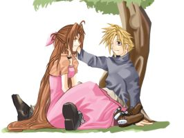 Aerith x Cloud by charlestanart