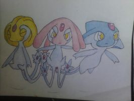 Mesprit, Uxie, and Azelf drawing
