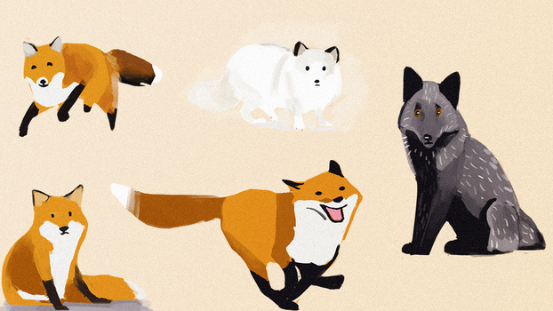 Foxes by rissketcher