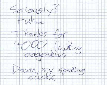 Handwritten Thanks for 4000 by theBSDude