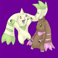Lopmon and Terriermon by Endivinity