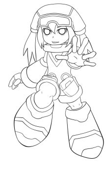 Pink Call Mighty No. 9 -lineart by amc9988