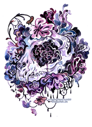 floral cat skull by cryptosilver