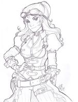 Daily Sketch 07: Steampunk Girl by RikaChan3