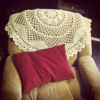 Doily blanket on the chair by restlesswillow