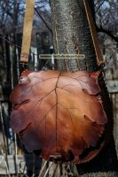 brown hand carved oak leaf purse with toggle faste by MoranaDeath
