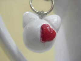 Heart White Kitty Phone Charm by PastryStitches