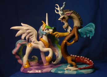 MLP - Celestia and Discord Sculpture by Miki-