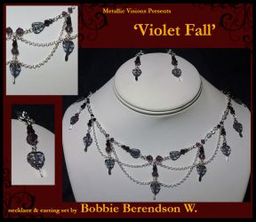 Violet Fall necklace and earring set by MetallicVisions