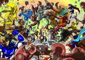 Raeverse heroes vs the Order of the Red Hornet by Silverback1