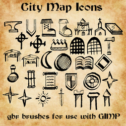 City Map Icon GIMP Brushes by ALifeInColours