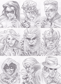 Eternal Champions Portrait Drawings by Hyde209