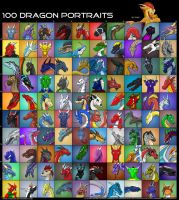 100 DRAGON PORTRAITS by thazumi