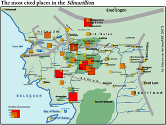 The most cited places in the Silmarillion by Airyyn