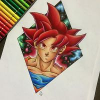 Super Saiyan God Goku Tattoo Design by Hamdoggz