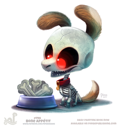 Daily Paint 1798# Bone Appetit by Cryptid-Creations
