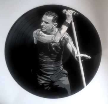 Dave Gahan painted on vinyl record by vantidus