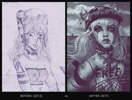 Sangria Before and After (2012 vs 2017) by shellz-art