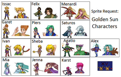 Sprite Request: Golden Sun Characters by theXVthmember