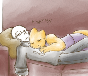 Slowly pushes him off the couch by zarla