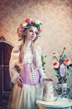 hand-painted fairy corset by MorielCorsetry