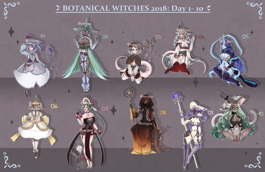 Botanical Witches: Day 1-10 [4/10 OPEN] by Mewpyonadopts