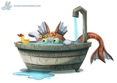 Daily Paint #1034. Poseidon Cat by Cryptid-Creations