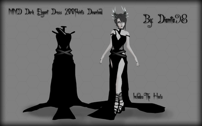 MMD Dark Elegant Dress 200Points Download by dianita98